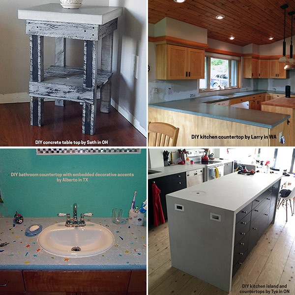 DIY concrete countertop training projects collage