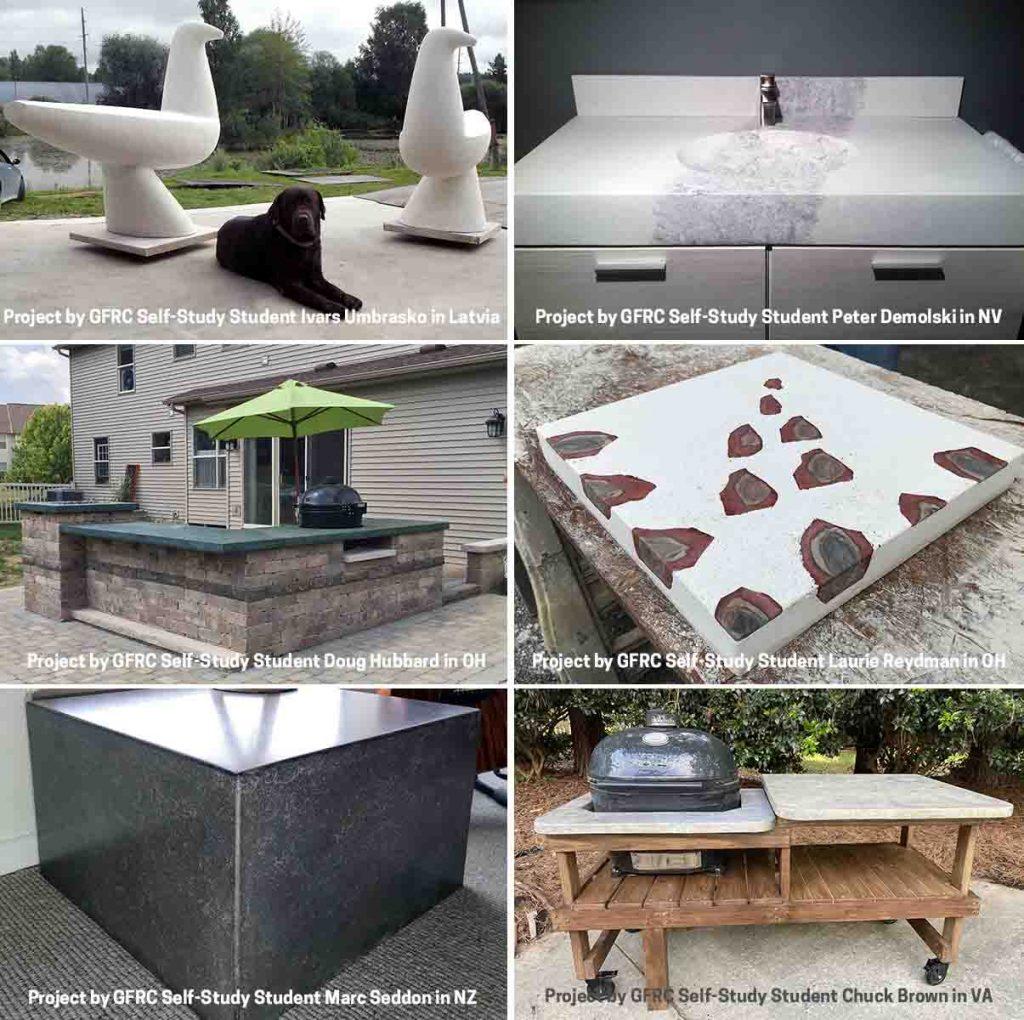 GFRC training concrete countertop photos collage