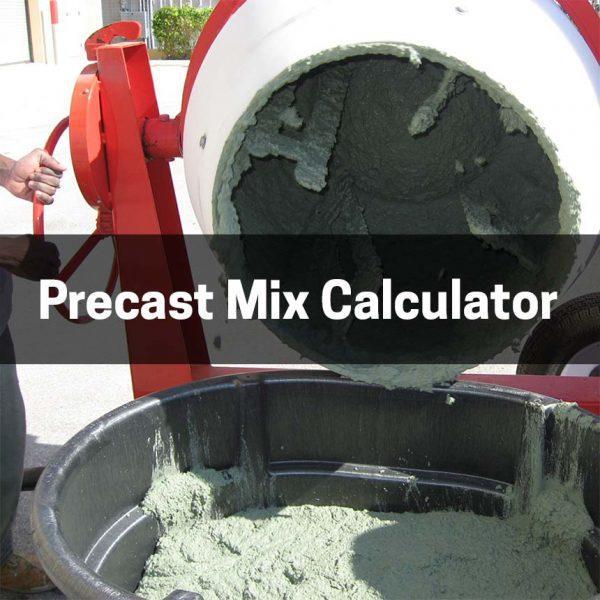 Precast Mix Calculator for concrete countertops