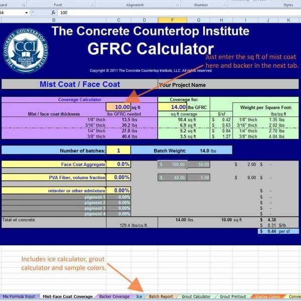 GFRC Concrete Countertop mix formula calculator