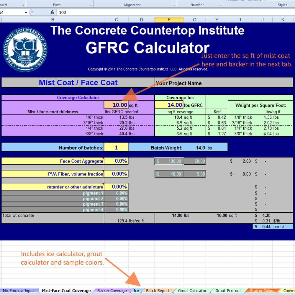 GFRC Mix Calculator