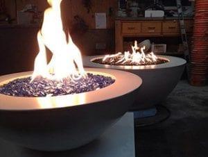 concrete fire bowls by Diamond Finish Concrete in BC Canada