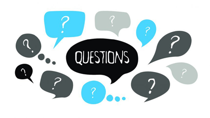 questions graphic with questionmarks in blue and black