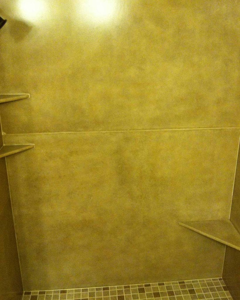 concrete shower panels and integrated shelves