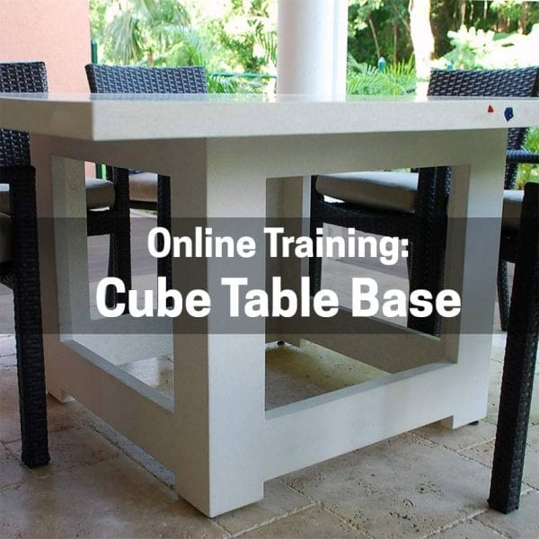 online training for how to make a concrete cube table base using GFRC
