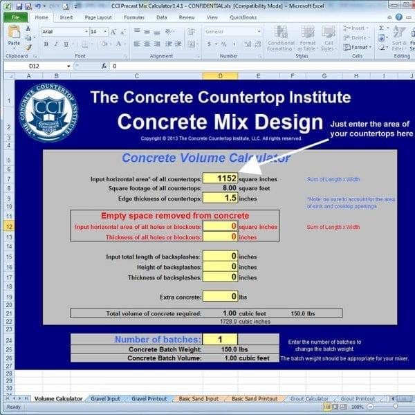 Precast Concrete Countertop mix formula calculator