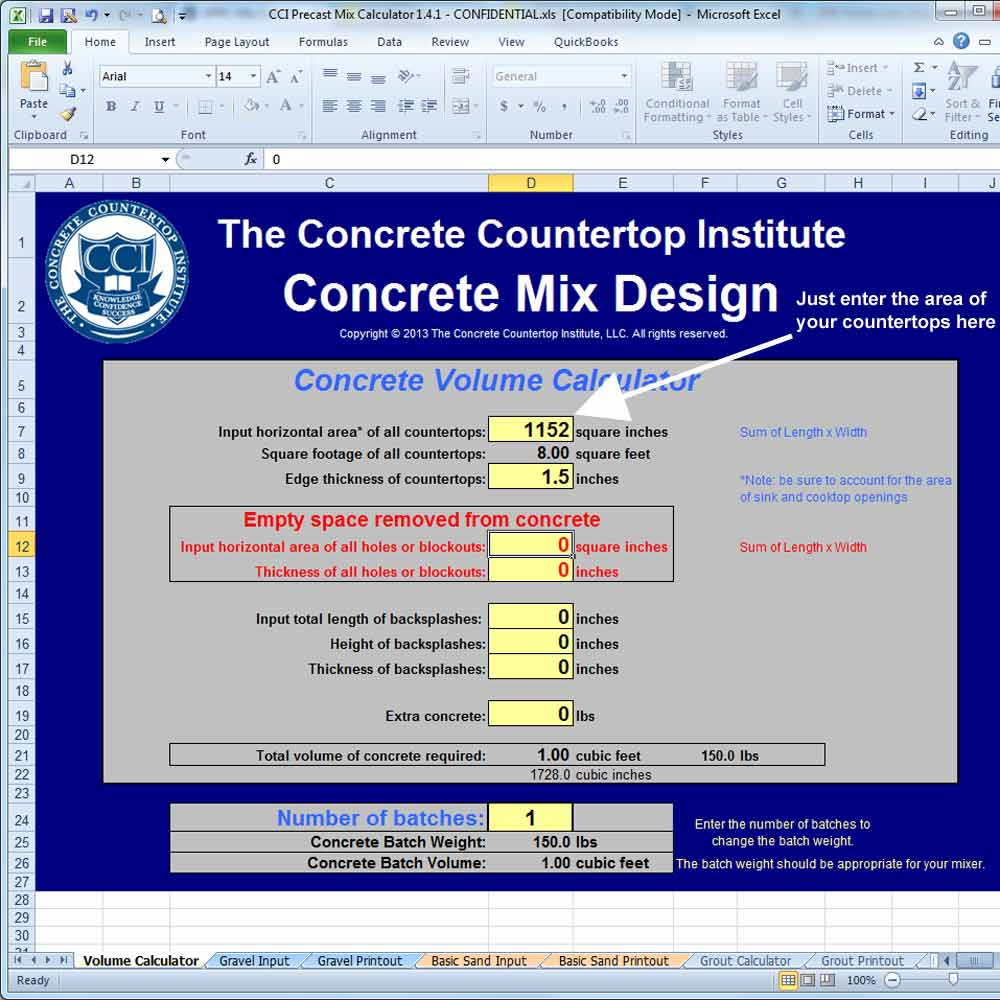 Precast Mix Calculator