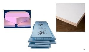 concrete countertop forming materials pink blue foam melamine