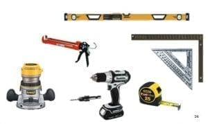 various tools used for construction