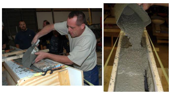 pouring fluid concrete mix into a vertical mold