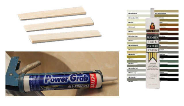 shims and caulk used for installing concrete countertops