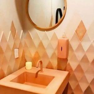 Orange Concrete Countertop sink Wood and Stone Designs