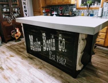 gray concrete countertop kitchen island rustic